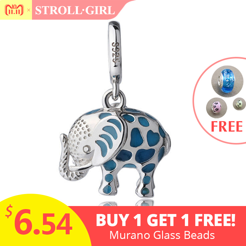 все цены на Fit pandora Charms pendant Bracelet Silver 925 original growing elephant dangle beads with enamel DIY fashion Jewelry for gifts