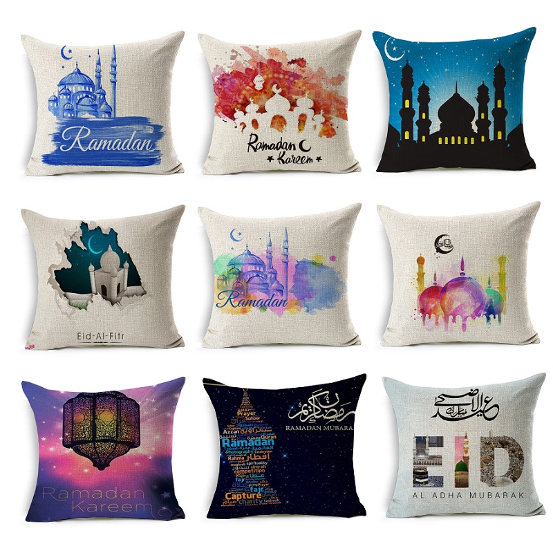 Ramadan Cushion Cover Eid Mubarak Flower Pillow Case 45X45cm Moon Castle Keep Calm Pillow Covers Bedroom Sofa Decoration