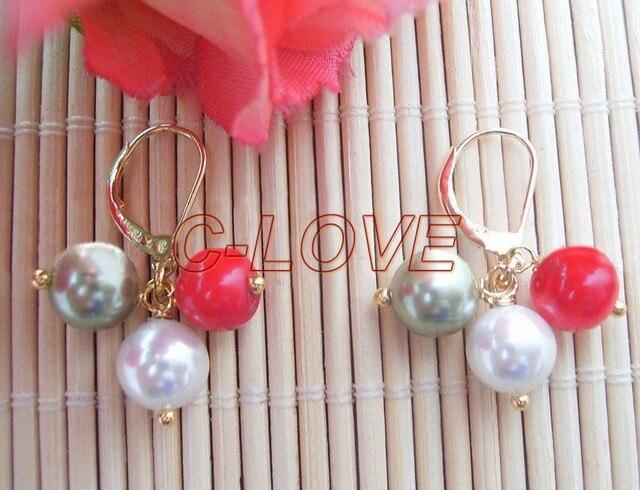 10 MM Shell Pearl & Coral pendiente oro plateado LeverBack libre + shippment