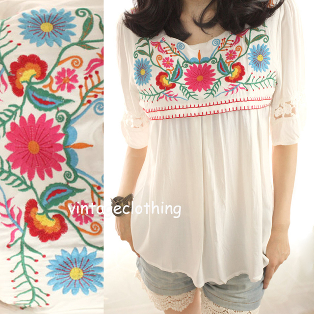 Floral Mexican Embroidery Blouse Autumn Casual O Neck Long Flare Sleeve  Shirt Ethnic Boho Chic Womens Streetwear Tops Blusas New-in Blouses & Shirts  from ...