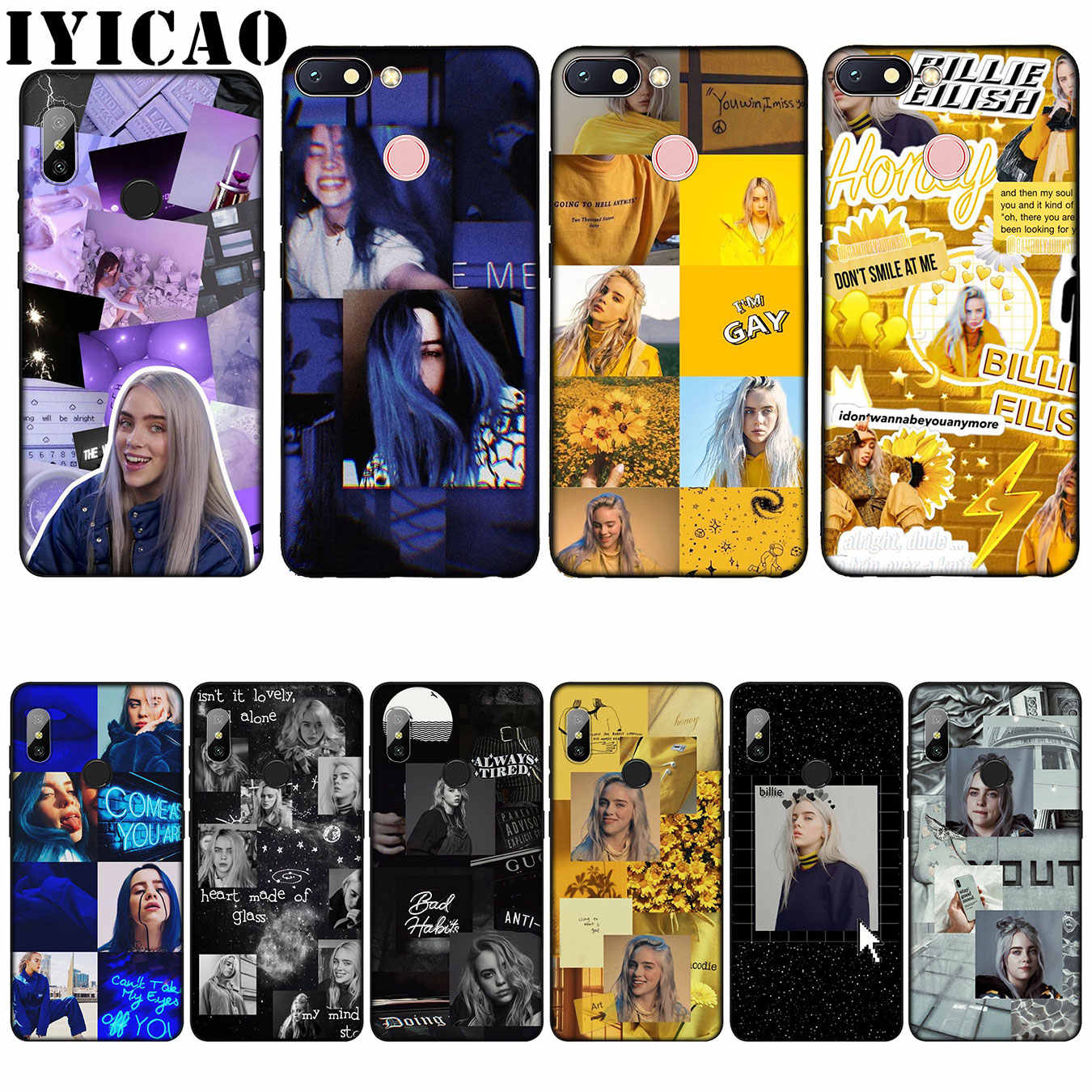 IYICAO Billie Eilish Khalid Lovely Silicone Soft Case for Xiaomi Redmi 6A 5A Note 7 4 4X 5 Plus 6 Pro Black TPU Cover