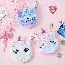 Cartoon Plush Unicorn Coin Purse Cute Cat Fur Circle Wallet Girl Clutch Embroidered Bag