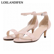 Womens Elegant Ankle Strap Buckle Open Toe Shoes Thin Med High Heeled Sandals Sexy Wedding Party NLK-C0114