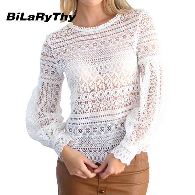 BiLaRyThy Spring Autumn Sexy Women Hollow Out Lace Tops Tees Long Lantern Sleeve O-Neck See Through Basic T Shirt Tops