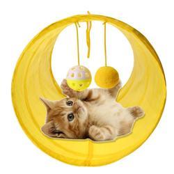 مضحك الحيوانات الأليفة لعبة نفق للقطة 2 ثقوب القط لعب أنابيب كرات قابلة للطي التجعيد هريرة الكلب لعب جرو Ferrets أرنب تلعب لعبة نفق للقطة أنابيب