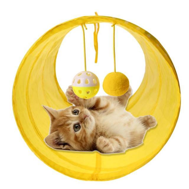 Divertente Pet Cat Tunnel 2 Fori Cat Gioca Tubi Palle Pieghevole Crinkle Gattino