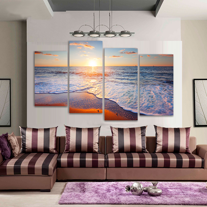 Hot Sale 4pcs Ocean Sunset Handed Oil Painting On Canvas For Home Wall Art Decor