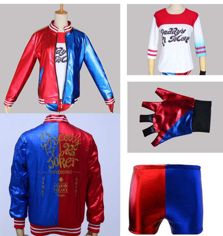 joker and harley quinn for adults girls children cosplay jacket shirt shorts suicide squad halloween costume - Joker Halloween Costume Kids