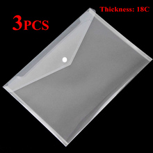 DELVTCH 3PCS 18C Thickness Clear Transparent A4 Paper Document File Bag Pocket Storage Organizer Office School Stationery Supply