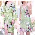 Mujeres directas de la fábrica pijamas de seda del kimono de pavo real del comercio pieza traje de casa camisón