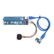 PCI-E 1x to 16x Mining Machine Enhanced Extender Riser Card Adapter with 60cm USB 3.0 & SATA 4pin IDE molex Power Cable