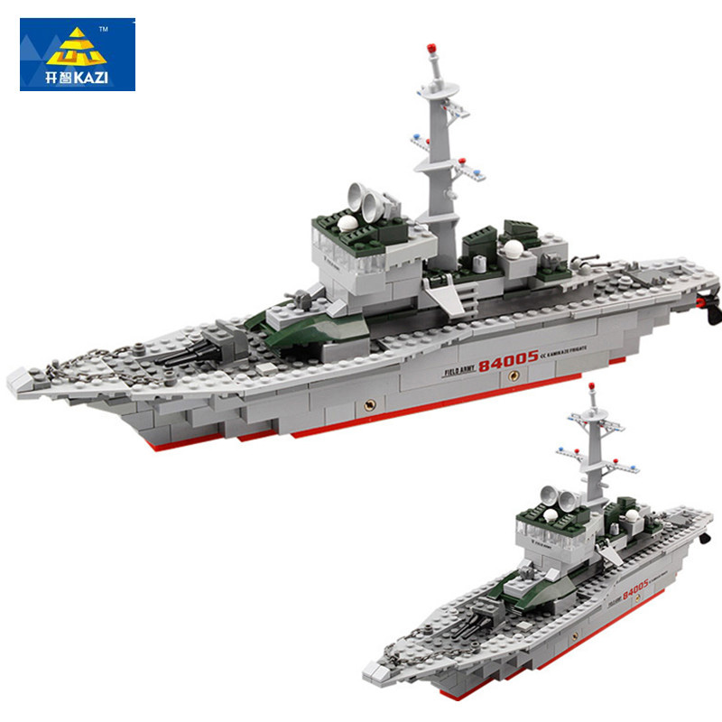 KAZI 84005 Children Blocks Military Frigate Building Blocks 288+pcs Assembly Toys Educational Blocks DIY Brick Toys For Children enlighten building blocks military submarine model building blocks 382 pcs diy bricks educational playmobil toys for children