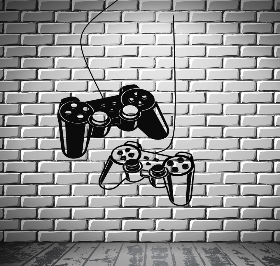 Games Mouse Wall Decal,Gaming Controller Joystick Wall Stickers Decor,Games Removable Art Mural Decals for Boys Kids Men Playroom Bedroom Living Room Show Window
