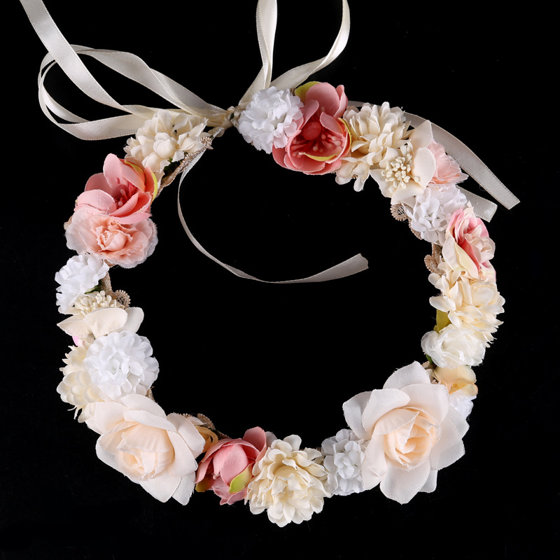 handmade Hair accessories For women Floral Garland Hair Jewelry Flower Wreath   Headwear   Headpieces hairband Wedding Bride Tiaras