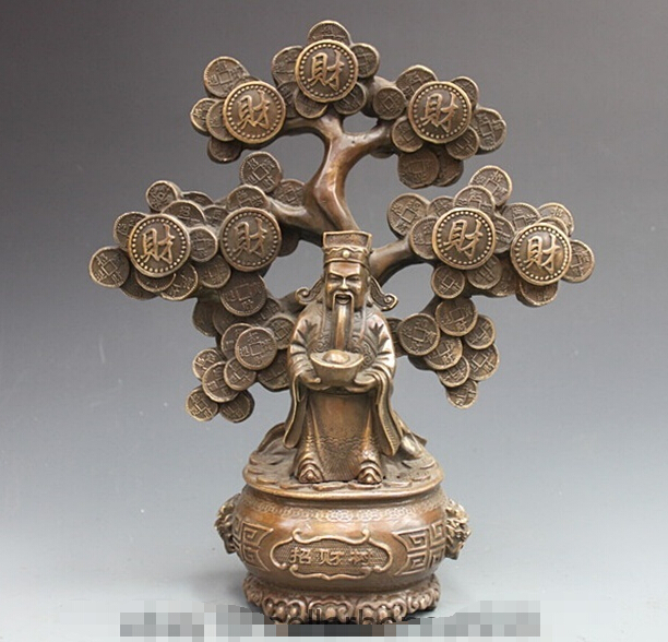 [old craft ] China Copper Bronze Pachira Tree God of wealth Folk Feng Shui Buddha Statue (A0314)[old craft ] China Copper Bronze Pachira Tree God of wealth Folk Feng Shui Buddha Statue (A0314)