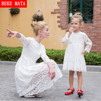 BEKE MATA Mother Daughter Dresses 2017 New Autumn Lace Hollow Mother Daughter Matching Clothes Family Look