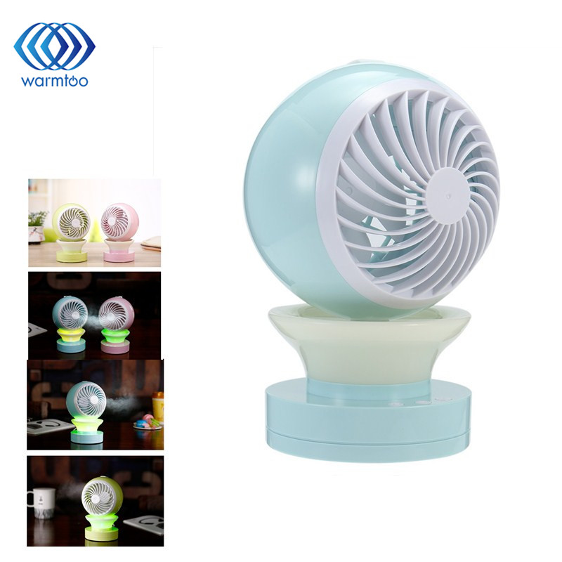 Mini Air Conditional Fan Support Humidifier With Night Light USB Rechargeable Water Mist Fan Portable for Home Office air humidifier with night light mini fan usb rechargeable water mist fan air conditioner fan office home table pedestal cooling