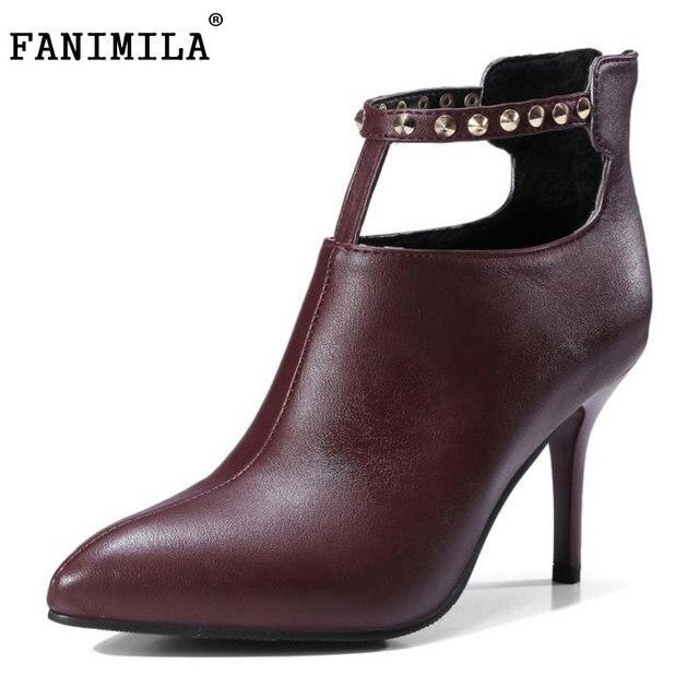 Bottes fourrure d'hiver court Bottes Bottines en daim épais Bottes Talon solide Couleur Chaussures Femme (taille: 33-43) bqUzmC5TV1