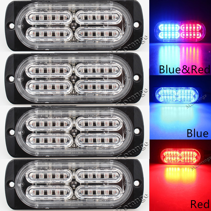 4PCS 12V-24V 20 LED Ultra-thin Waterproof High Power Car Truck Emergency Side Strobe Warning Flashing Light White Red Amber 4 led 12 24v car strobe flash light white red amber light vehicle truck rear side light car emergency warning lamp drop shipping
