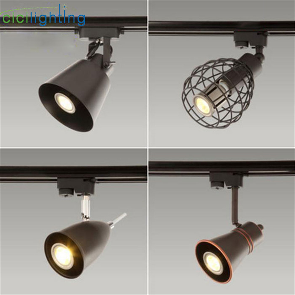 Art Decoration LED Spotlight Europe Style Clothing Track Light Retro American Industrial Living Room Bar Exhibition Rail Lamp