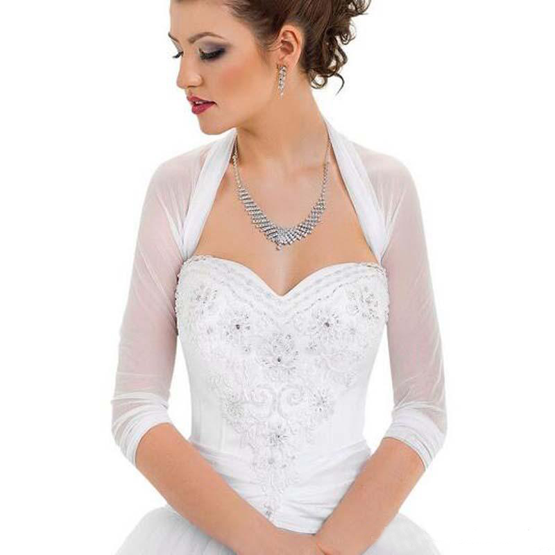 3/4 Long Sleeve Wedding Bridal Jacket Pleated Tulle Party Bolero For Wedding Dresses Bridal Coat