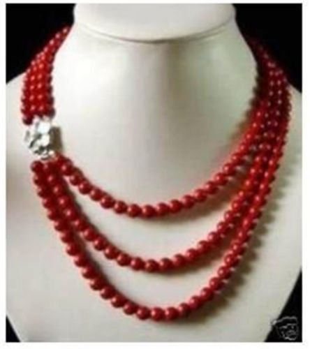 FREE shipping>>> >>> Beautiful 3rows 6mm red coral necklace 17-20