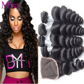 5pcs Lot 7A Unprocessed Peruvian Virgin Hair With Lace Closure Peruvian Loose Wave 4 Bundles With Closure Human Hair With Closur