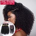 Монгольский странный вьющиеся волосы девственницы с закрытием 2/3/4 расслоения и закрытие 3 часть lace closure with bundle человеческих волос weave закрытие