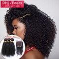 Mongolian kinky curly virgem cabelo com encerramento 2/3/4 pacote e fechamento 3 parte lace closure com pacote tecer cabelo humano fechamento