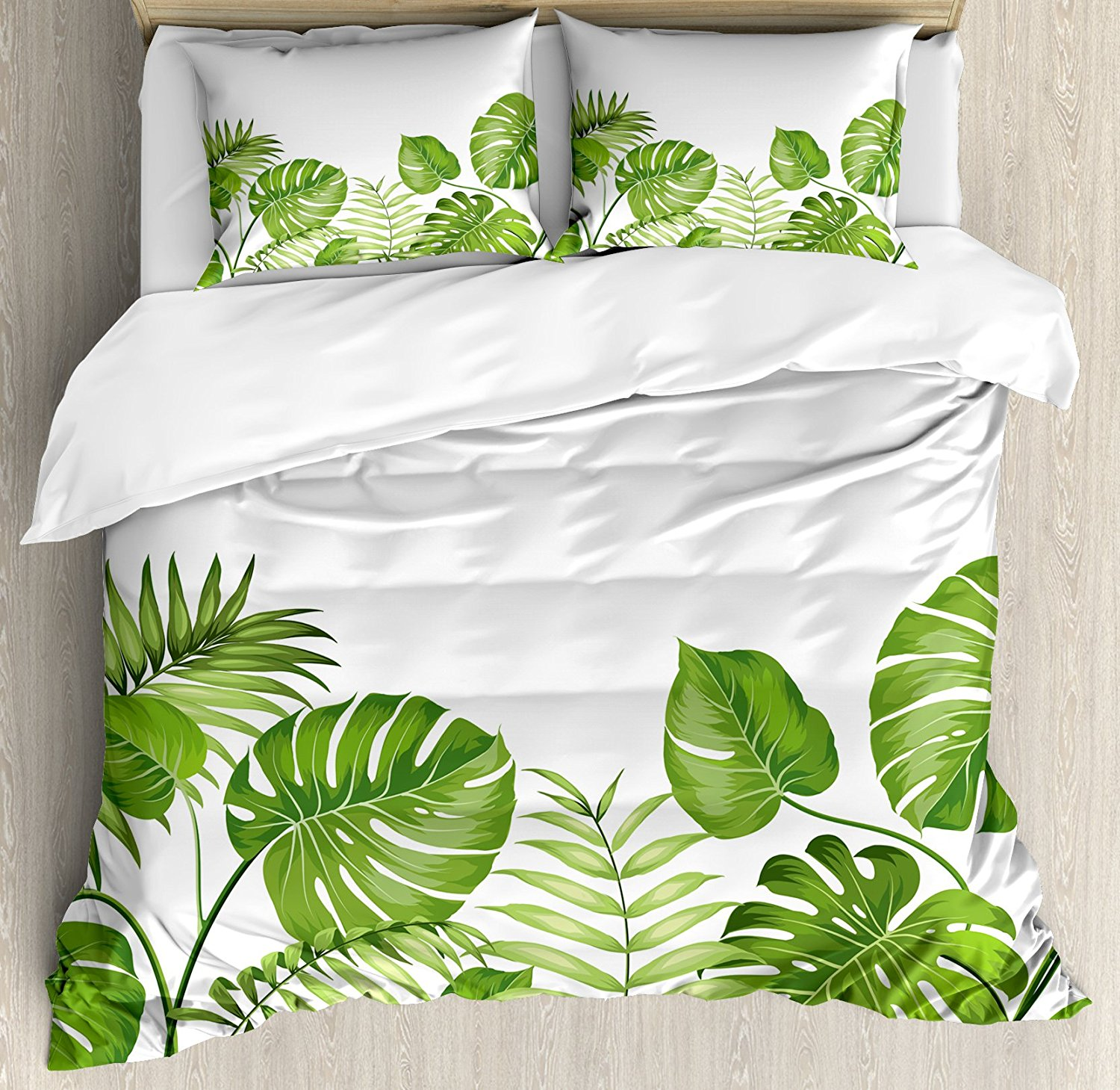 Leaf Duvet Cover Set Nature Jungle Forest Rainforest Inspired Leaves Plant Foliage Swirls Botanic Image, 4 Piece Bedding Set