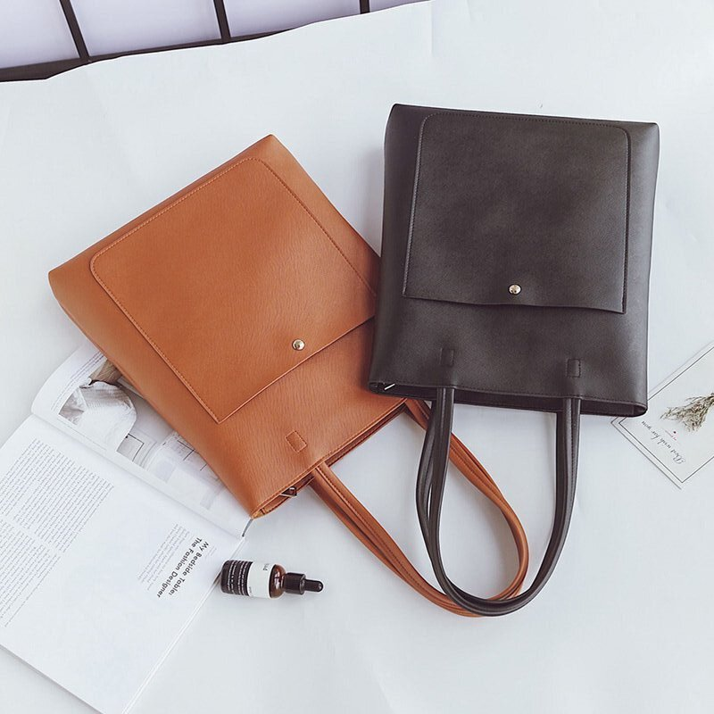 Vintage Simple and elegant Women PU Leather Handbag Designer Crossbody casual tote large bag Female Clutch Feminina Bags Bolsos england style women casual tote pu leather patchwork handbag bag vintage large crossbody bags shopping bag for female