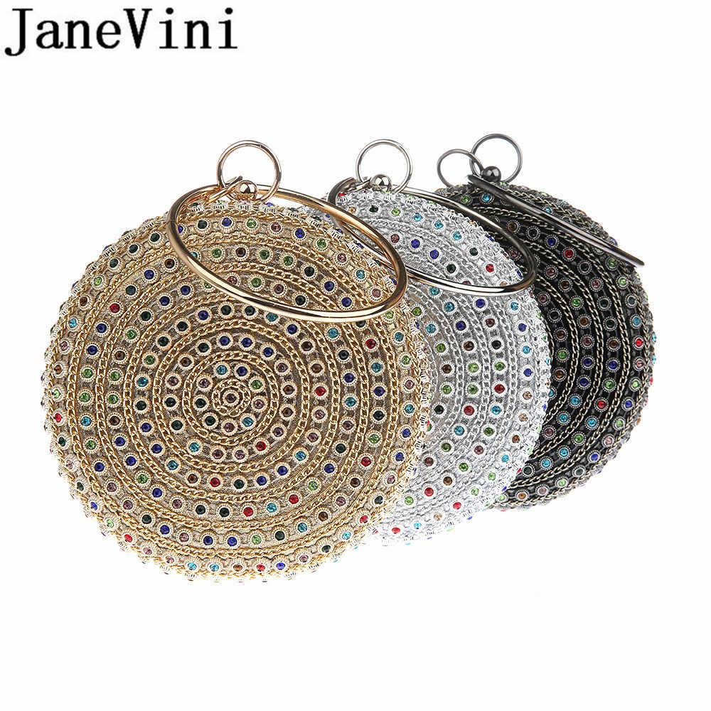 JaneVini Colorful Beads Ladies Clutch Handbags Womens Gold Round Chain Bags Boutique Cocktail Wedding Party Metal Clutches Black