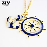 2017 The New Fashion Trendy Beautiful Sky Blue Drip oil Anchor & Rudder Pendants & Necklaces Women/Men Boat Helm Jewelry