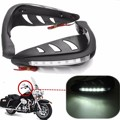 1 Pair Black Universal Handlebar Hand Protector LED Light Motorcycle Hand Guards