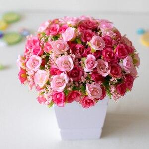 Flor de plástico Artificial de 21 cabezas, ramo de novia de plástico, decoración de boda, 7 tenedor falso, Mini Flor de seda rosa, decoración para el hogar romántica