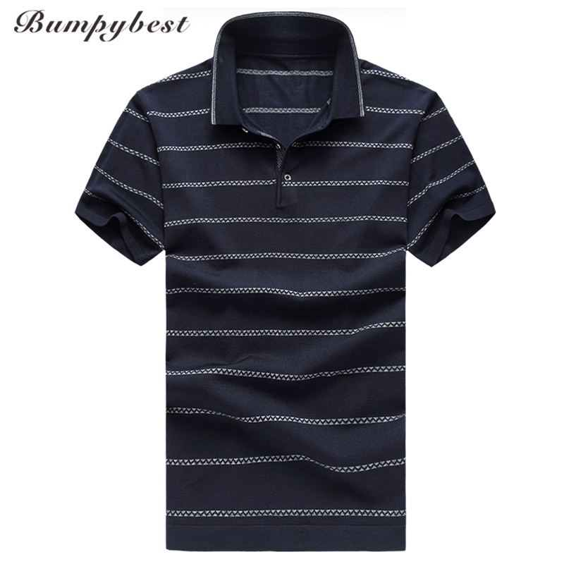 Bumpybeast High-quality Mulberry silk stripe   polo   shirt men big Size M-6XL Short Sleeve 2018 Summer   polos   para hombre Clothing