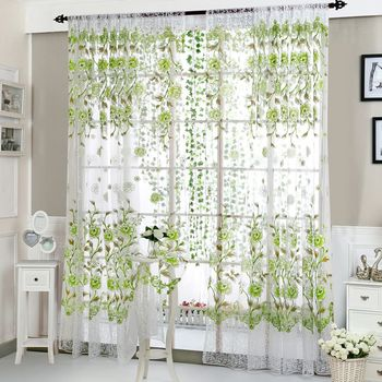 Fashion Window Curtain Flower Print Divider Tulle Voile Drape Panel Sheer Scarf Valances House Office Curtain