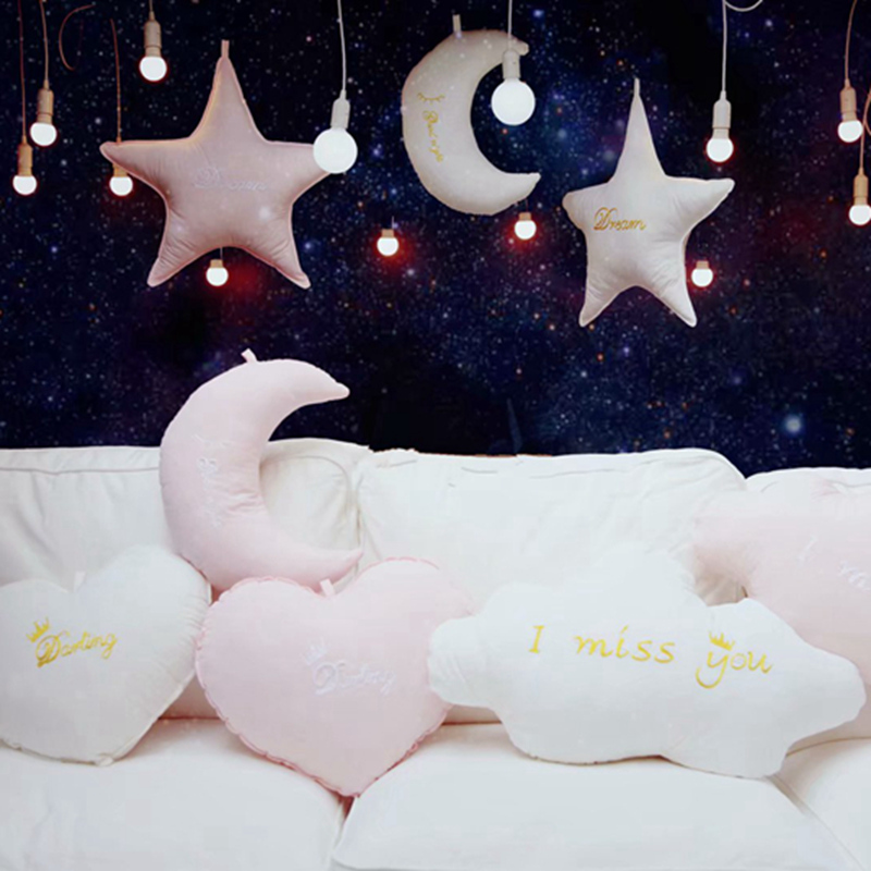 Lovely Sky Series Pillow Star Moon Clouds Heart Plush Toy Pillow Baby Room Decor Bedding Crib Decoration Kids Girl Birthday Gift