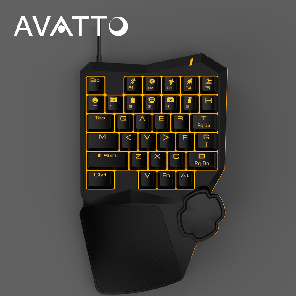 AVATTO Professional PUBG Mechanical Gaming Keyboard with Backlit,Wired,Single Hand Wrist Pad for PLAYERUNKNOWNS BATTLEGROUNDS ...