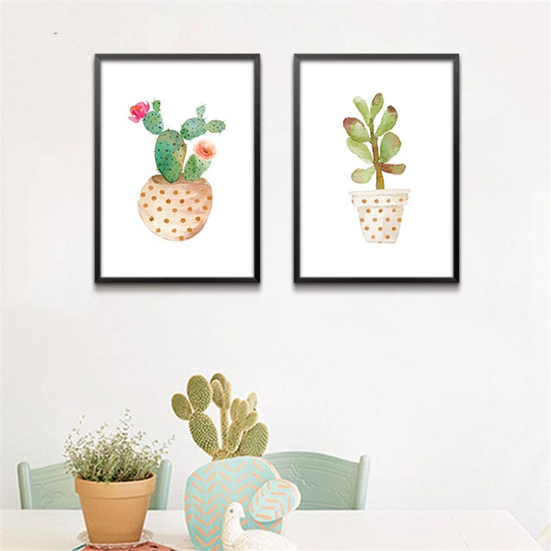 green cactus modular plants pictures wall print for room modern abstract art painting posters and prints