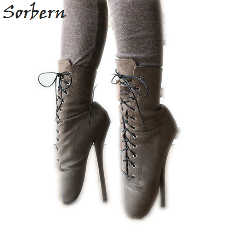 Sorbern 7 Inch Heel Ankle Boot Ballet High Booties Women Fake Suede Ankle Lace Up Boots