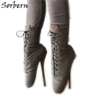 Sorbern 7 Inch Heel Ankle Boot Ballet High Booties Women Fake Suede Ankle Lace Up Boots Exotic Shoes Custom Colors Big Size 15