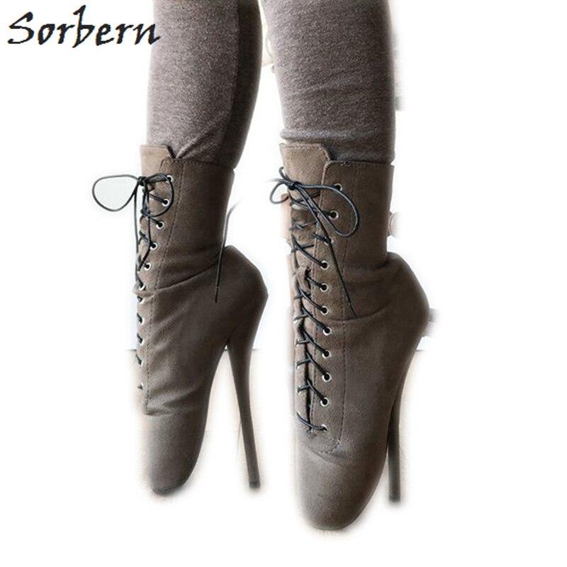 Sorbern 7 Zoll Ferse Ankle Boot Ballett High Booties Frauen Gefälschte Wildleder Ankle Lace Up Stiefel Exotic Schuhe Nach Farben große Größe 15-in Knöchel-Boots aus Schuhe bei  Gruppe 1