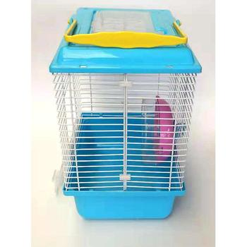 Portable Heighten Single Layer Pet Syrian Hamster Cage with Cover Running Wheel Bowl for Small Habitat Guinea Pigs Mice Habitat 4