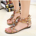 National Wind String Beaded Rhinestone Sandals Women 2016 Summer New Bohemia Flat With Shoes Open Toe Sandalies For Party