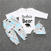 3PCs Spring Baby Boy Clothing Set Cotton Baby Girl Clothes Newborn Infant Rompers With Cap Longsleeve