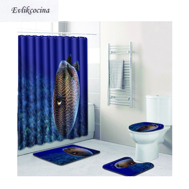 Free Shipping 4pcs Spots Coffe Fish Banyo Bathroom Carpet Toilet ...