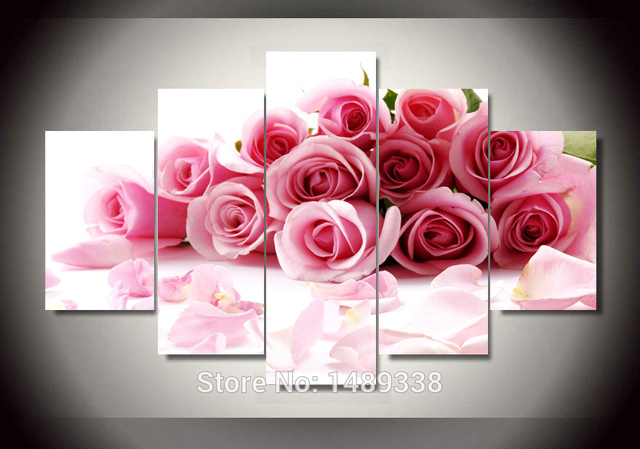 Free shipping pink rose print on canvas abstract flowers oil painting canvas prints wall art decoration