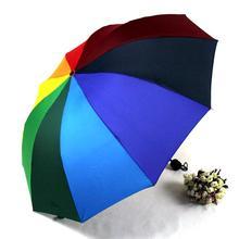 Mode Sonnenschirm Regenbogenregenschirm Griff Gerade Bunten Regenschirm Weibliche Sonnig Und Regnerisch Dach