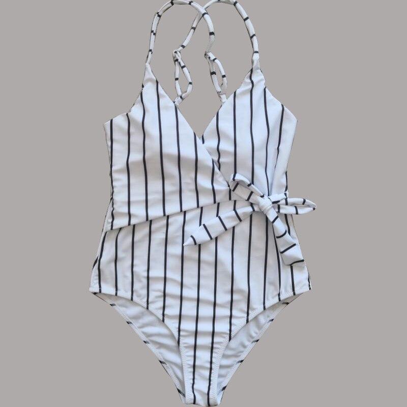 2020 Sexy Stripes Swimwear Women Backless One piece Swimsuit Badpak Monokini  Maillot femme  Bikini Maio Biquini Mujer Trikini 1